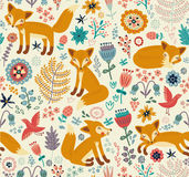 Seamless background with cute foxes and flowers Stock Illustration