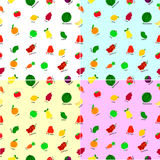 Seamless background, cute Fruits Stock Images