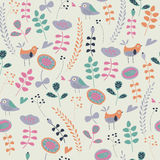 Seamless background. Cute seamless background with funny flowers, hearts and birds in cartoon style Stock Images