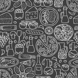 Seamless background with cute hand drawn cartoon Royalty Free Stock Photography
