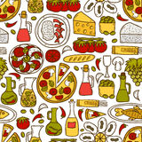 Seamless background with cute hand drawn cartoon Royalty Free Stock Images