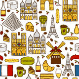 Seamless background with cute hand drawn cartoon Stock Images