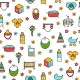 Seamless background with cute hand drawn objects Royalty Free Stock Photography