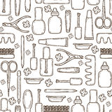 Seamless background with cute hand drawn objects Stock Image
