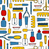 Seamless background with cute hand drawn objects Royalty Free Stock Images