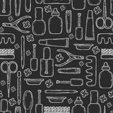 Seamless background with cute hand drawn objects Stock Images