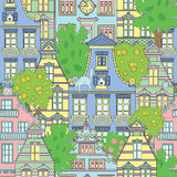 Seamless background with cute houses and trees Stock Images