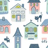 Seamless background with cute houses vector illustration
