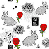 Seamless background with cute little rabbit and red roses. Vector illustration in romantic style stock illustration