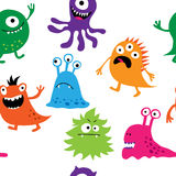 Seamless background with cute monsters Stock Image