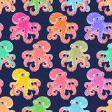 Seamless background of cute octopuses Royalty Free Stock Image