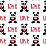 Seamless background with cute pandas and hearts. seamless panda bears and the word love.  Stock Photography