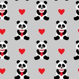 Seamless background with cute pandas and hearts. seamless panda bears.  Royalty Free Stock Photo