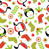 Seamless background with cute penguin and Xmas ornaments suitable for children Xmas wallpaper, and scrap paper Royalty Free Stock Images