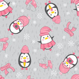 Seamless background with cute penguins. Cute cartoon penguins in winter funny pink hats on gray background. Vector seamless pattern Royalty Free Stock Images