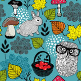 Seamless background with cute rabbit and clever owl in eyeglasses. Royalty Free Stock Images