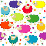 Seamless background with cute sheep Stock Photography