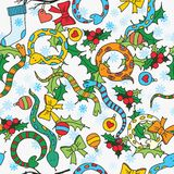 Seamless background with cute snakes. Mistletoe and snowflakes for New Year of the snake Stock Illustration
