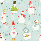 Seamless background with cute snowman Royalty Free Stock Photos