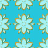 Seamless background with 3d floral blue and orange elements. Vector illustration royalty free illustration
