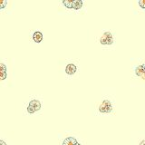 Seamless background with daisy flowers. On yellow. Vector illustration Royalty Free Stock Images