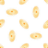 Seamless background with daisy flowers on yellow. Vector illustration Stock Photo