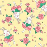 Seamless background with dancing  rabbits. Stock Image