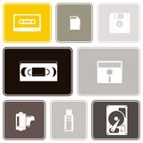 Seamless background with data storage icons Stock Image