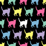 Seamless  background with decorative cats Stock Photos