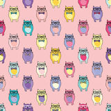 Seamless  background with decorative cats in glasses Royalty Free Stock Image