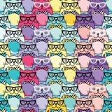 Seamless  background with decorative cats in glasses Stock Photo
