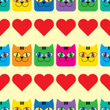 Seamless  background with decorative cats and hearts Royalty Free Stock Image