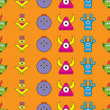 Seamless  background with decorative colorful monsters Royalty Free Stock Image