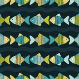 Seamless background with decorative fish. Scribble texture. Royalty Free Stock Photo