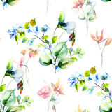 Seamless background with Decorative flowers Royalty Free Stock Photography