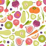 Seamless pattern with healthy fruits and vegetables Royalty Free Stock Photos