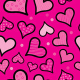 Seamless  background with decorative hearts and polka dots Royalty Free Stock Image