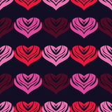 Seamless background with decorative hearts. Valentine`s day. Vector illustration. Can be used for wallpaper, textile, invitation card, wrapping, web page stock illustration