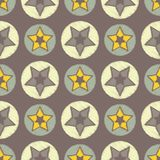 Seamless background with decorative stars. The star in the circle. Scribble texture. Royalty Free Stock Photography