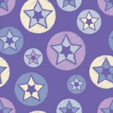 Seamless background with decorative stars. The star in the circle. Scribble texture. Stock Images