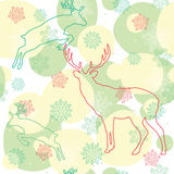 Seamless background with deer. Winter Christmas vector seamless background with deers Vector Illustration