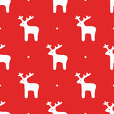 Seamless background with deer. Vector in flat style. Ready Christmas template. Royalty Free Stock Photography