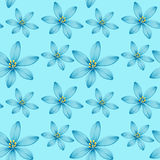 Seamless background design with blue flowers on blue background Stock Image