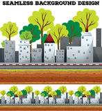 Seamless background design with buildings on the road stock illustration