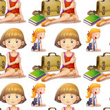 Seamless background design with cute girls Stock Photography