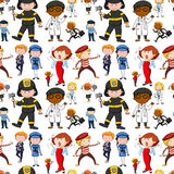 Seamless background design with different jobs. Illustration Royalty Free Stock Photo