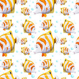 Seamless background design with fish and bubbles. Illustration Stock Images