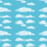 Seamless background design with fluffy clouds Stock Photo