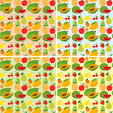 Seamless background design with fresh fruits Royalty Free Stock Photo