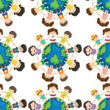 Seamless background design with kids around the world Stock Images